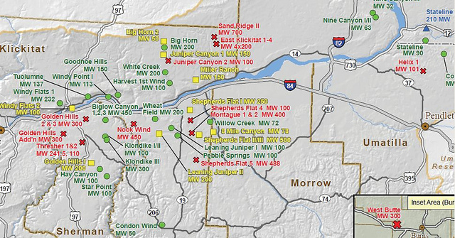 Wind Farms In Oregon Oregon Green Energy Guide - Wind farms in the us map
