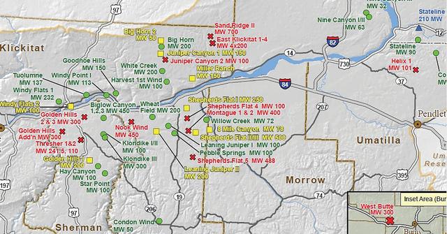 Wind Farms In Oregon Oregon Green Energy Guide - Map of wind turbines in us